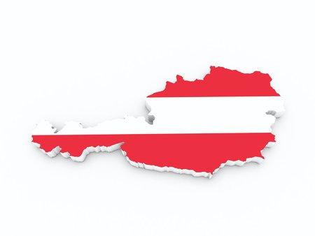 austria flag: austria flag on 3d map