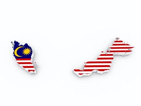 malaysia flag on 3d map