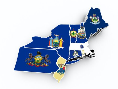 northeast: northeast region state flags on 3d map Stock Photo