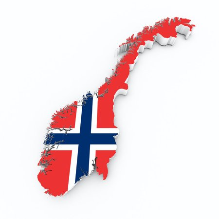 norway flag: norway flag on 3d map Stock Photo