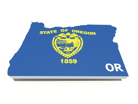 state of oregon: oregon state flag on 3D map Stock Photo