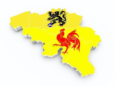 limburg: belgium province flags on 3d map