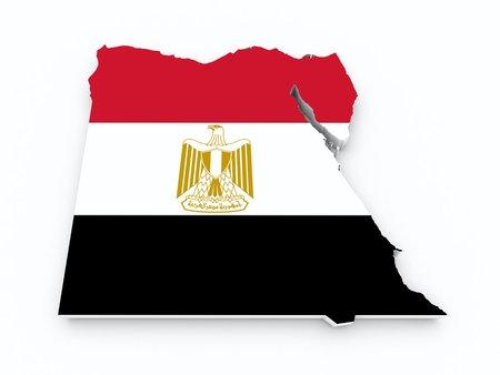 egypt flag: egypt flag on 3d map Stock Photo