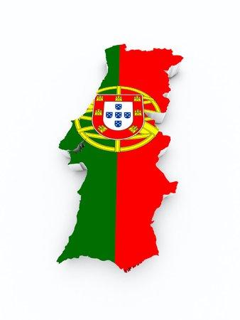 drapeau portugal: drapeau du portugal sur carte 3d