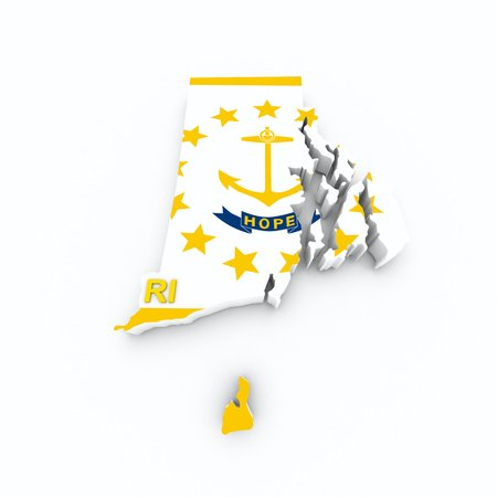 island state: rhode island state flag on 3d map