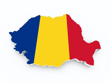 map of romania with flag on white isolated