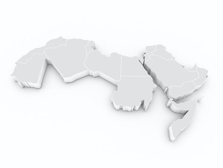 arab league 3D map 스톡 콘텐츠
