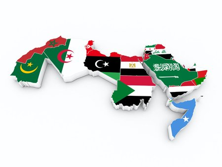arab league member flags on 3D map Stock Photo