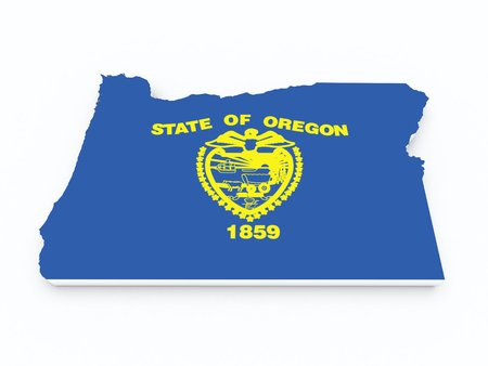 bend: oregon state flag on 3D map Stock Photo