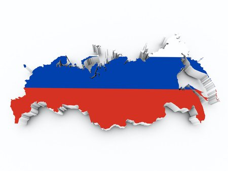 shire: russia flag on 3d map Stock Photo