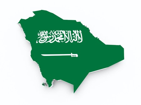 shire: saudi arabia flag on 3d map Stock Photo
