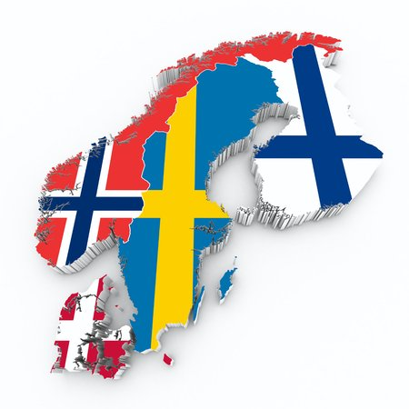 scandinavian flags on 3d map Banco de Imagens