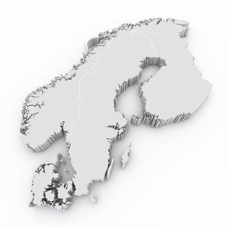 scandinavia 3d map