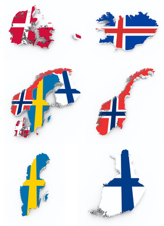 scandinavian flags on 3d map Stock Photo