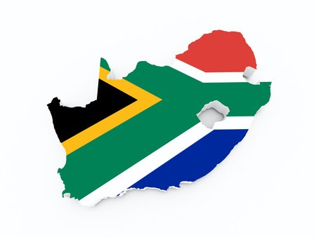 south african flag: south african flag on 3d map