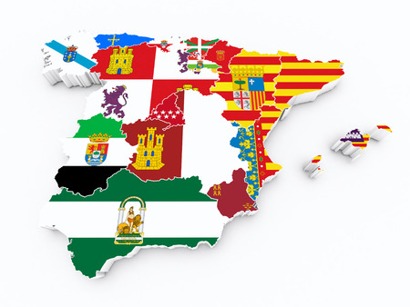 spain Autonomous communities flags on 3d map Imagens - 44349906