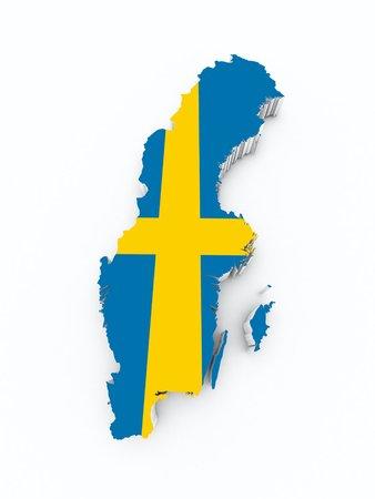 sweden flag: sweden flag on 3d map