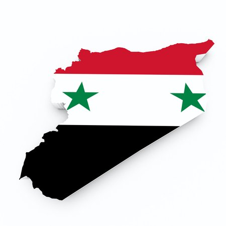 shire: syria flag on 3d map