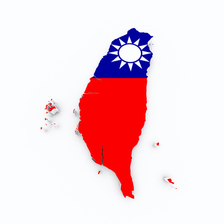 taiwan flag on 3d map