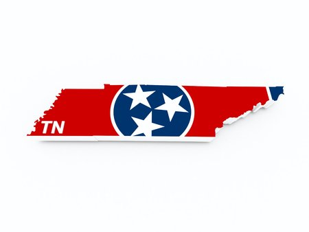 midwest: tennessee state flag on 3d map Stock Photo