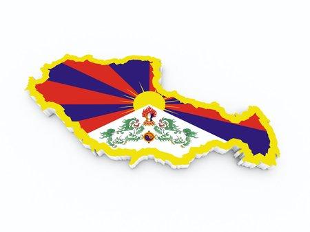 tibet: tibet flag on 3d map