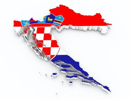 croatia flag on 3d map