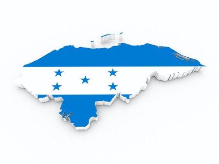 honduras flag on 3d map
