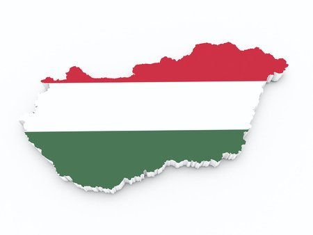hungarian pointer: hungary flag on 3d map Stock Photo