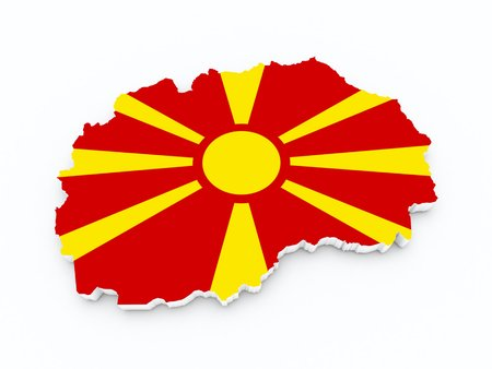 macedonia: macedonia flag on 3d map Stock Photo