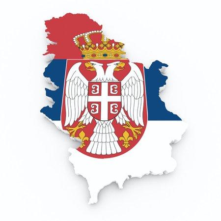 serbia flag: serbia flag on 3d map Stock Photo