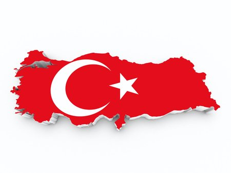 shire: turkey flag on 3d map Stock Photo