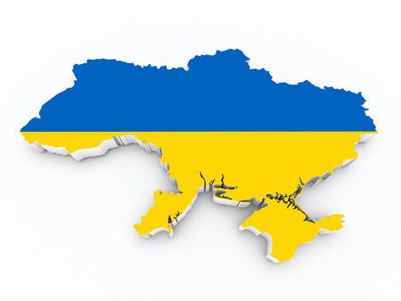 ukraine flag: ukraine flag on 3d map Stock Photo