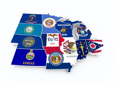 マップ米国中西部地域