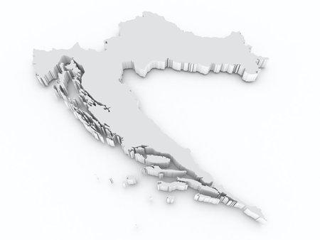 croatia 3d map Stock Photo