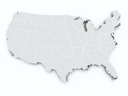 États-Unis 3d carte