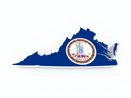 midwest: virginia state flag on 3d map Stock Photo