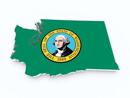 midwest: washington state flag on 3d map Stock Photo
