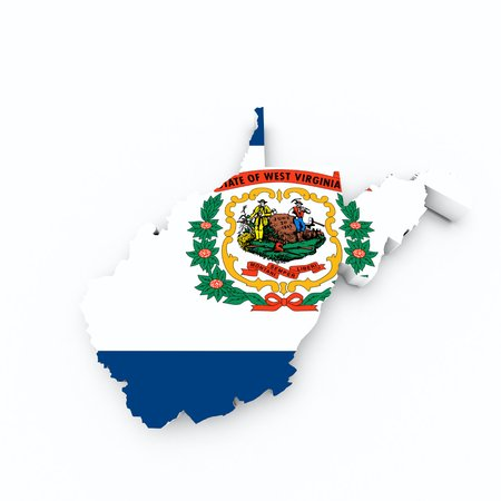 3d virginia: west virginia state flag on 3d map