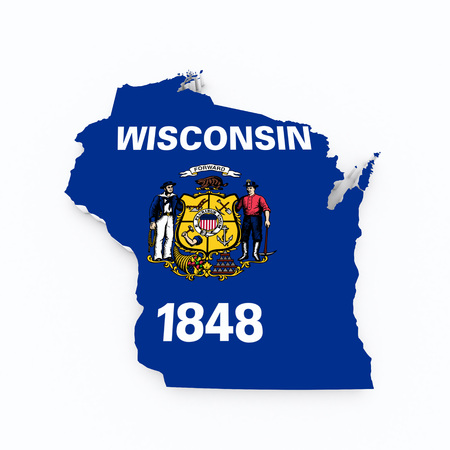 wisconsin flag: Wisconsin state flag on 3d map Stock Photo