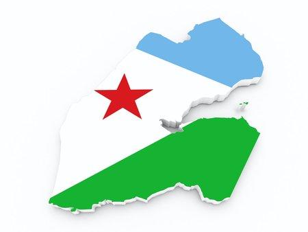 djibouti: djibouti flag on 3d map Stock Photo