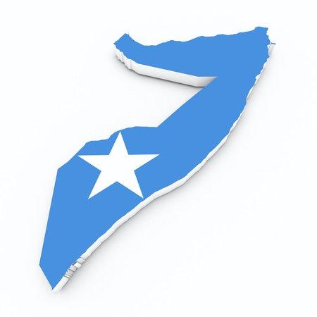 somalia: somalia flag on 3d map