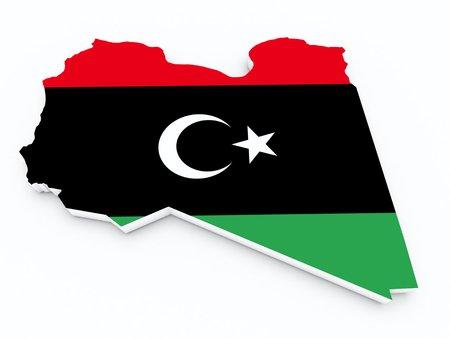 lybia: libya flag on 3d map