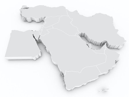 middle: middle east 3d map Stock Photo
