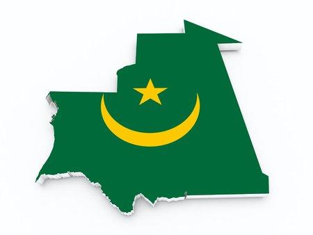 mauritania: Mauritania flag on 3d map