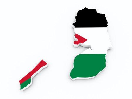 palestine: Palestine flag on 3d map Stock Photo