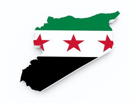 opposition: Syria opposition flag on 3d map