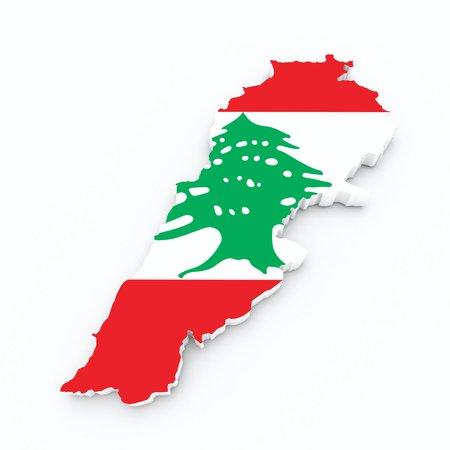 lebanon: lebanon flag on 3d map