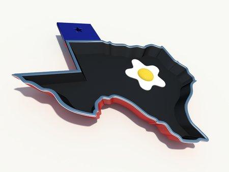 texas frying pan with egg Stock Photo