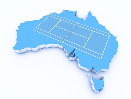 tennis court on 3d australia Stock Photo
