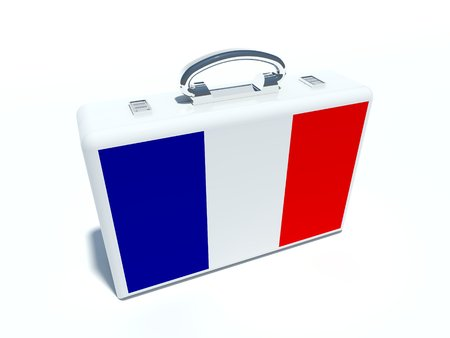 french flag: traveling suitcase with french flag Stock Photo